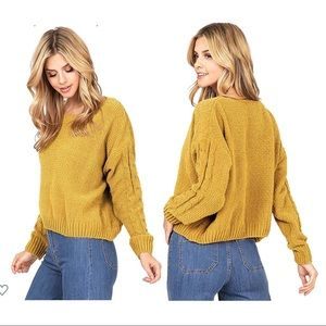 Favlux Small Mustard Yellow knit cozy sweater cabl